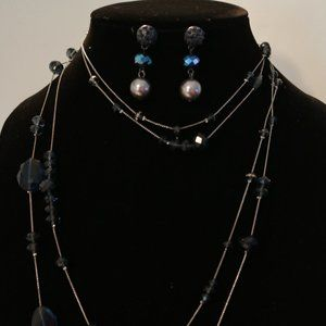 Blue Crystal Necklace/Earring Set